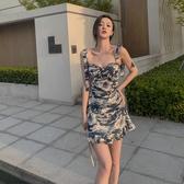 浮世繪小眾印花連身裙 瑪瑙藍抹胸設計氣質短裙吊帶裙女夏 雙11提前購
