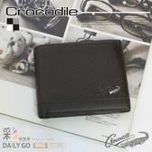 Crocodile鱷魚皮夾真皮短夾男皮夾-內層卡夾0103-33572咖啡