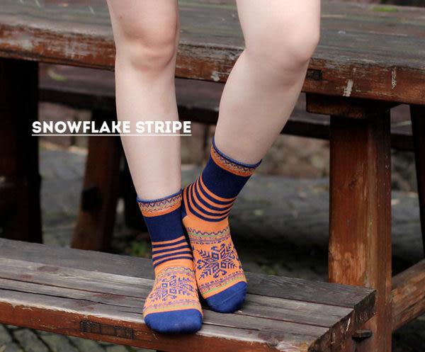 襪子   條紋雪花中筒襪  【FSW042】-收納女王