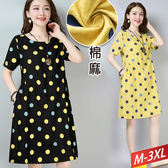 雙色點點口袋棉麻洋裝(2色)M~3XL【339269W】【現+預】☆流行前線☆