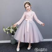 演出服 花童婚禮小女孩禮服兒童婚紗禮服女童鋼琴演出服蓬蓬紗公主裙洋氣