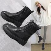 短靴 馬丁靴女英倫風春夏春秋夏季透氣單靴薄款港味百搭靴子ins潮短靴 (快速出貨)
