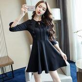 實拍女神款網紅穿搭單品新款小個子黑色顯瘦A字連衣裙9938T364.胖胖唯依