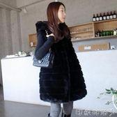 現貨韓版冬季女大衣顯瘦毛毛連帽收腰中長馬甲加厚仿兔毛皮草外套M/黑色僅此一件2-10
