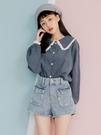 灰藍日系蕾絲織邊襯衫