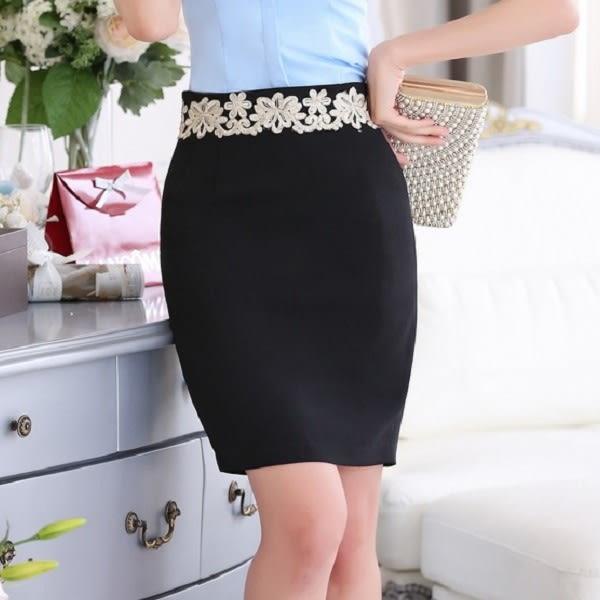 浪漫花邊腰際OL短裙窄裙~美之札