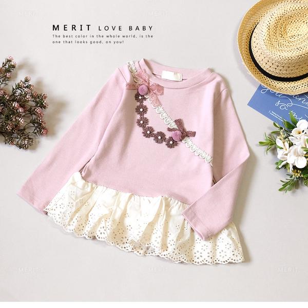 純棉 珍珠花朵可愛毛球拼接蕾絲上衣 緞帶 粉色 優雅 氣質 韓版 氣質 長袖 秋 女童 哎北比童裝