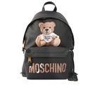 【MOSCHINO】瓦楞紙熊熊造型防刮帆布後背包(中款)(黑色)2A7640 8210 1555