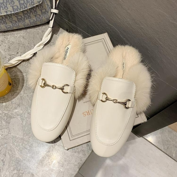 復古包頭毛毛拖鞋女外穿2020新款網紅爆款半拖鞋百搭懶人鞋穆勒鞋 後街五號