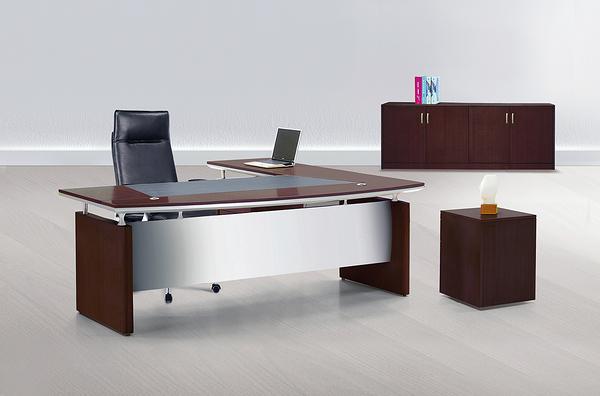 511-1 7尺主管桌整組(L型/8936)側桌櫃(8936/全木皮)