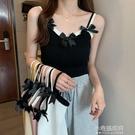 夏季2021新款蝴蝶結設計感小眾修身百搭辣妹外穿內搭背心吊帶女裝 小宅妮