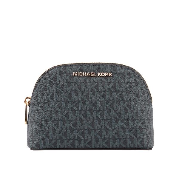 【MICHAEL KORS】PVC LOGO金字化妝包(深藍) 35H8GTVU3B ADMIRAL