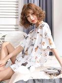夏季睡衣女套裝短袖兩件套純棉可外穿寬松韓版清新學生少女家居服