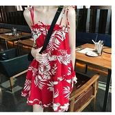 沙灘裙女夏泰國海邊度假高腰顯瘦超仙巴厘島Chic小清新吊帶連衣裙 快速出貨