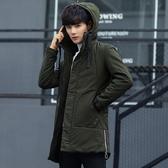 男士外套厚款 日系韓版外套羽絨外套 連帽純色冬季潮流棉服 時尚夾克外套加絨 百搭加厚男生外套