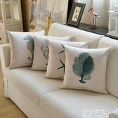 簡約加厚亞麻印花抱枕布藝歐式沙發靠墊床頭大靠墊辦公室靠枕靠背igo『潮流世家』