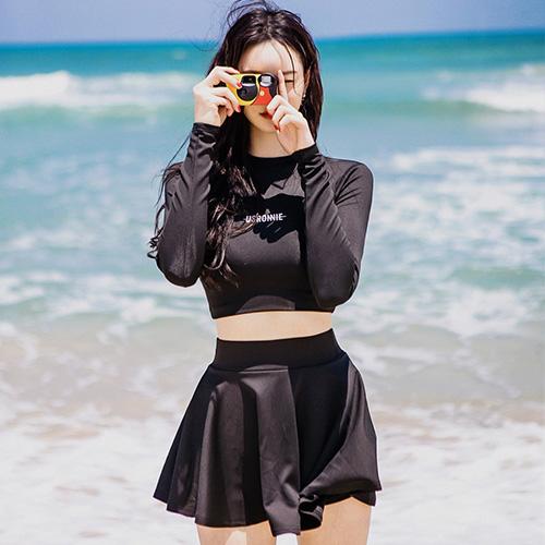 黑色裙式平角潛水服女分體長袖防曬泳衣緊身速干沖浪運動水母衣