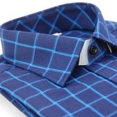 【金‧安德森】藍色大方格保暖窄版長袖襯衫