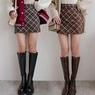 現貨-MIUSTAR 配色菱格紋毛料褲裙...