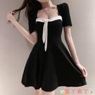 短袖洋裝 黑色氣質短袖短裙新款夏季法式復古顯瘦性感露背連身裙遮肚子潮女 愛丫 免運
