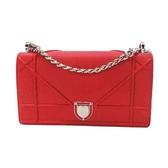 Dior 迪奧 藤格紋紅色牛皮鏈條肩背斜背包 Diorama Flap Bag【二手名牌BRAND OFF】