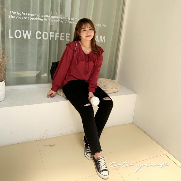 中大尺碼  娃娃領襯衫-共兩色- 適XL~4L《 69125 》CC-GIRL