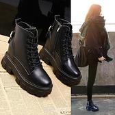 黑色馬丁靴女新款高跟英倫厚底百搭內增高短靴女春秋單靴 快速出貨