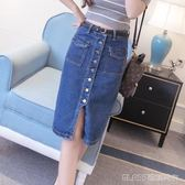 新款女裝韓版包臀顯瘦單排扣修身牛仔中長款裙   琉璃美衣