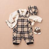 【金安德森】秋冬彌月禮盒-熊熊口袋吊帶褲套裝