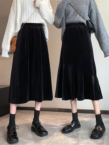 魚尾裙 黑色絲絨中長款裙子春季2021年新款高腰魚尾裙垂感A字半身裙女【快速出貨八折下殺】