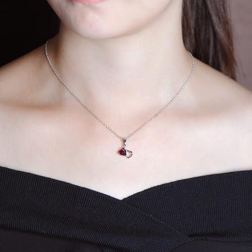 蘇菲亞SOPHIA - 玩美寶石系列 心心相印紅石榴石項鍊