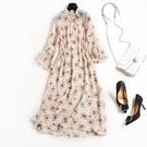 洋裝-雪紡七分袖氣質浪漫碎花荷葉袖女連身裙73qz55【巴黎精品】
