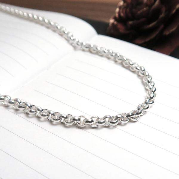 極簡寬版小圓鍊(3.7mm寬) 20吋925純銀項鍊 搭配鍊 男生項鍊