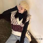 韓版無袖針織毛衣背心女外穿寬松V領小香風馬甲【時尚大衣櫥】