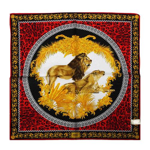 VERSACE 凡賽斯 古典藝術華麗獅子帕巾(紅色)989017-27