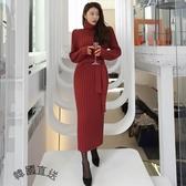 正韓連身裙*酒紅高垮領極顯瘦粗針毛織長連身洋裝(現貨)[S62591-KR]小三衣藏