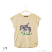【INI】百搭印花、玩味休閒麋鹿印花上衣.黃色