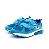 FILA 魔鬼氈 透氣網面 兒童氣墊慢跑鞋《7+1童鞋》4209 藍色
