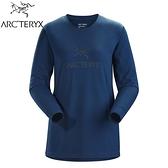 【ARC TERYX 始祖鳥 女 LOGO 長袖T恤《宇宙藍》】27918/長袖上衣/透氣長袖/內層上衣