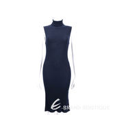 ALLUDE 100% WOOL 深藍色高領羊毛無袖洋裝 1540650-34