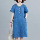 棉麻洋裝連身裙2023夏新款韓版大碼連身裙女短袖顯瘦中長款刺繡薄牛仔MA110依佳衣