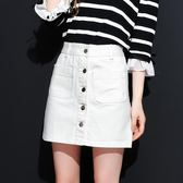 白色牛仔裙半身裙chic裙子女春夏季2018新款短裙韓版學生a字裙