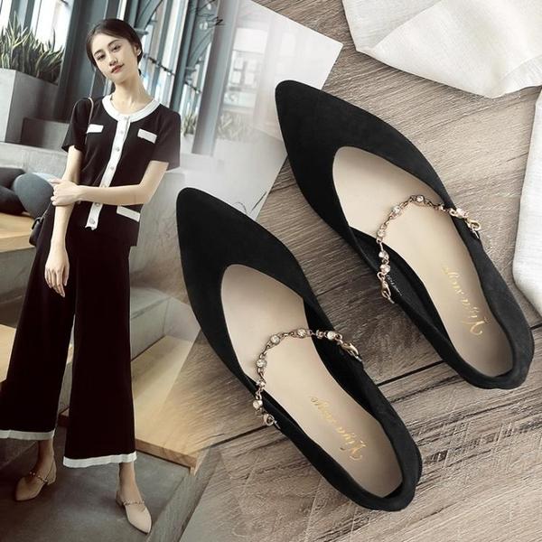 低跟鞋 仙女風夏季單鞋女2021春秋新款百搭配裙子低跟尖頭性感中跟涼鞋女