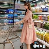 棉麻孕婦夏裝連衣裙大碼孕婦裙子娃娃領夏季新款中長款【奇趣小屋】