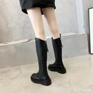 過膝靴 長筒靴女不過膝高筒騎士靴子2020新款秋冬百搭厚底小個子馬丁長靴 俏girl