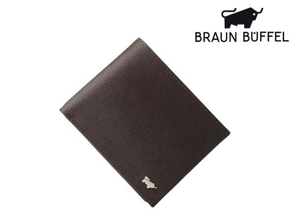 【寧寧精品*台中店】BRAUN BUFFEL 小金牛 提貝里烏斯系列 壓扣零錢袋短夾 紳士咖 BF166-315-2