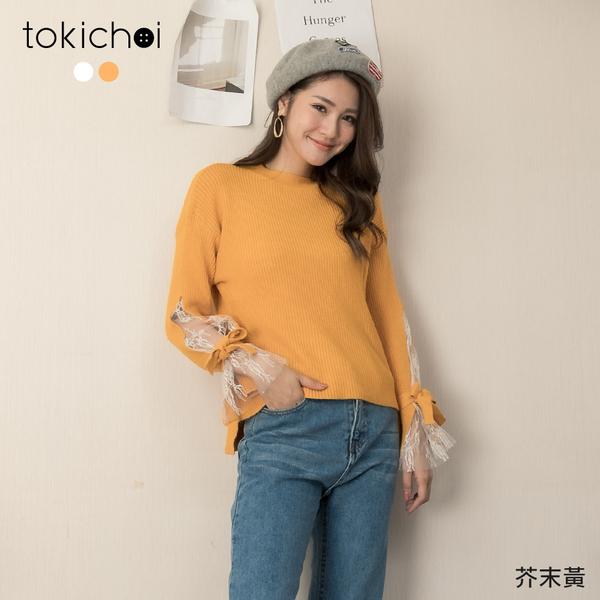 東京著衣-tokichoi-浪漫迷人透肌蕾絲綁結側開衩針織毛衣(191459)