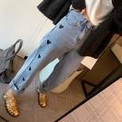 直筒褲 T6234 2020秋冬新款愛心牛仔褲設計師藍色高腰直筒長褲女