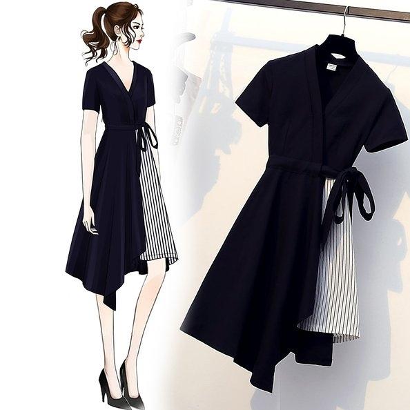 洋裝連身裙職業裙L-4XL中大尺碼顯瘦時髦胖mm洋氣藏肉減齡連身裙R45.9926胖妹大碼