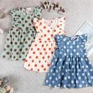 女童洋裝 無袖洋裝 夏季洋裝 大圓點飛袖款,90/100/110【310046】